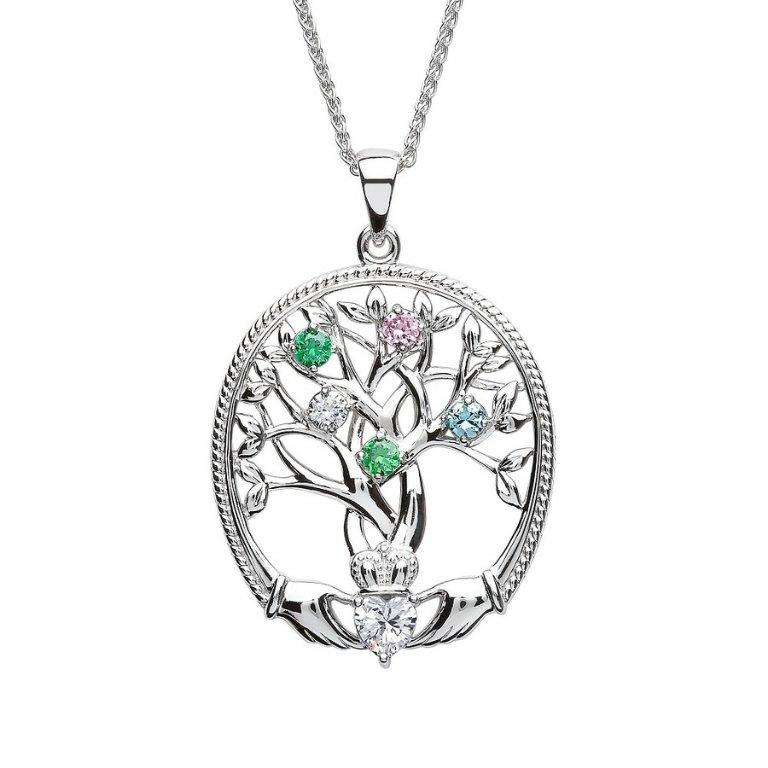 five stone family tree of life pendant