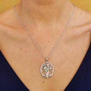 five stone family tree of life pendant on model