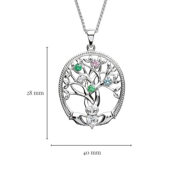 five stone family tree of life pendant with measurement