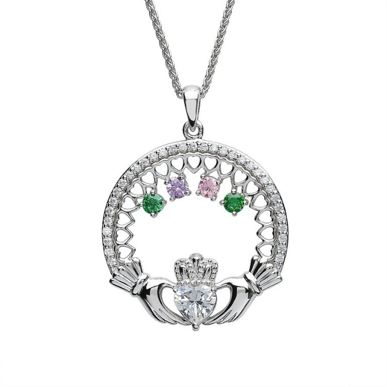 four stone family claddagh pendant