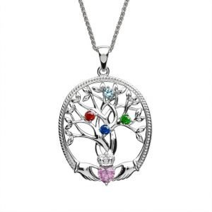 four stone family tree of life pendant