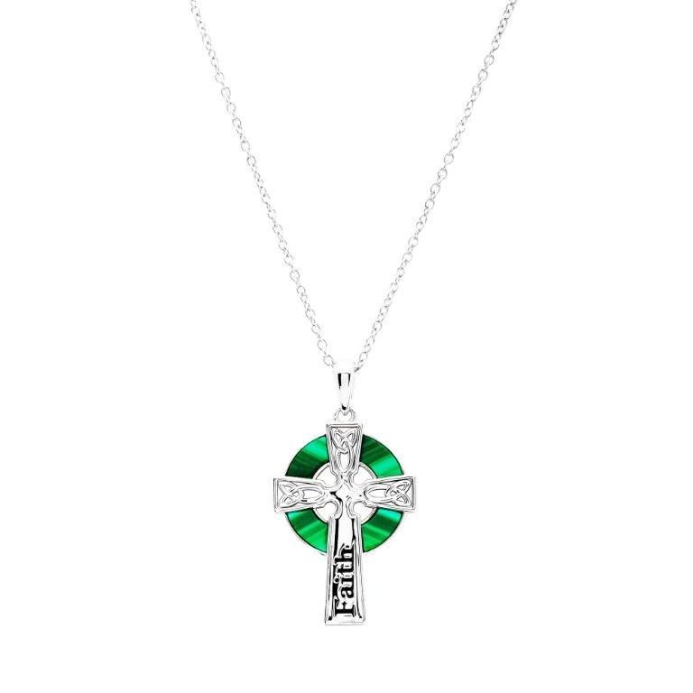 Hope Malachite Celtic Cross Pendant