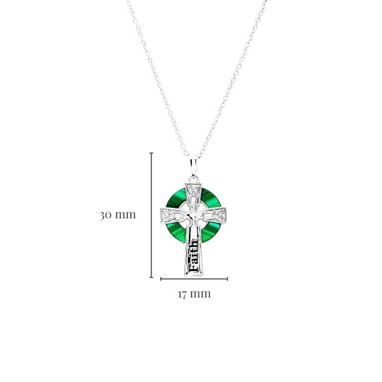 Hope Malachite Celtic Cross Pendant with Measurement