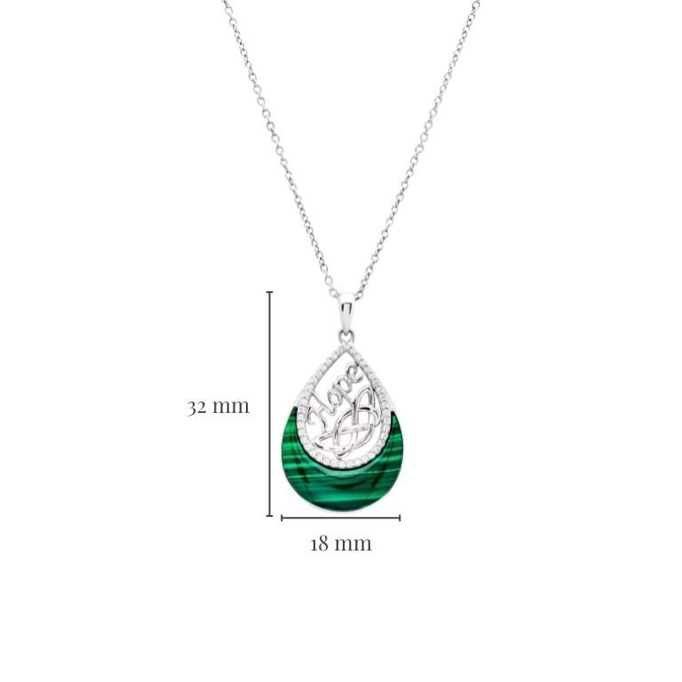 Hope Malachite Trinity Knot Pendant in Sterling Silver with Measurement