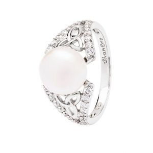 Intricate Sterling Silver Trinity Pearl Ring