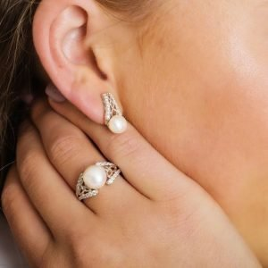 Intricate Sterling Silver Trinity Pearl Ring on Model