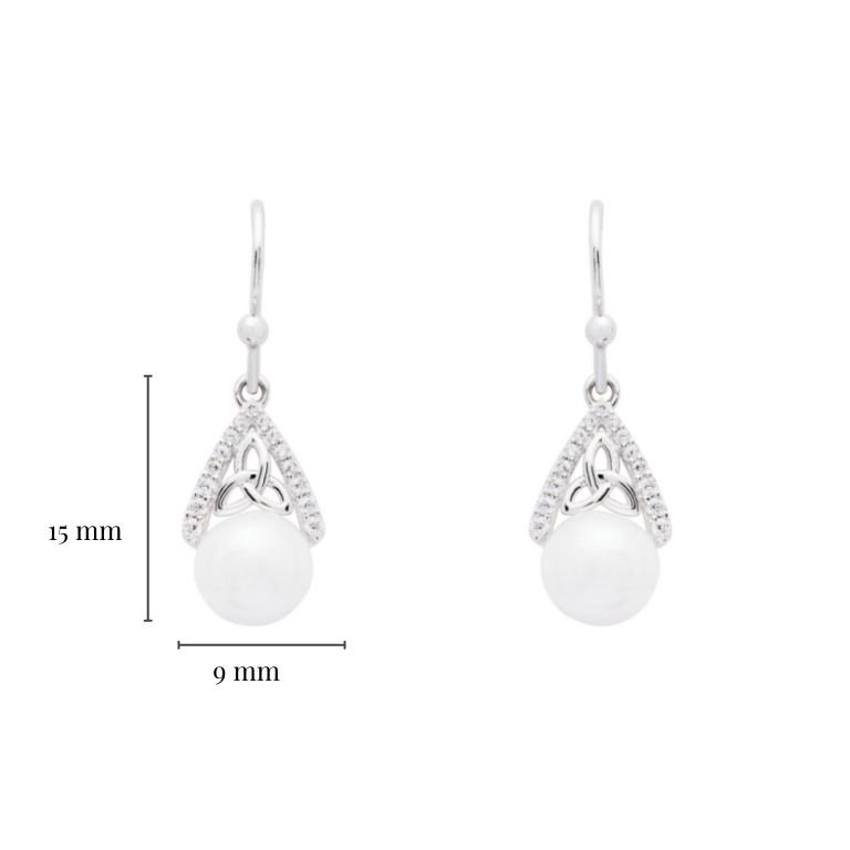 Intricate Trinity Knot Pearl Earrings with Measurement