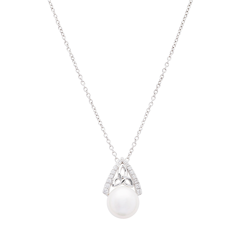 Intricate Trinity Knot Pearl Pendant