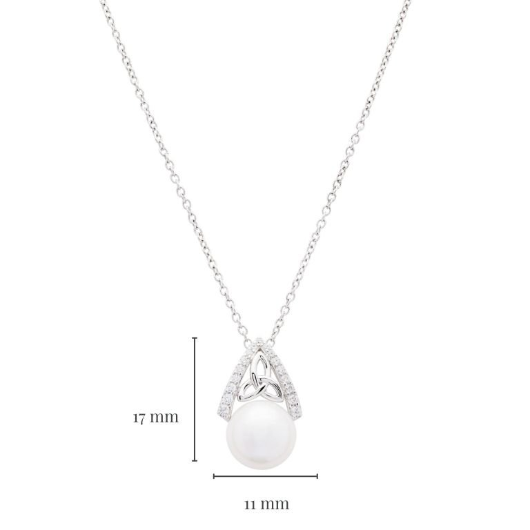 Intricate Trinity Knot Pearl Pendant with Measurement