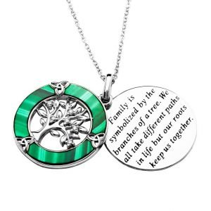 Malachite Tree of Life Trinity Knot Circle Pendant Open