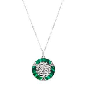 Malachite Tree of Life Trinity Knot Circle Pendant