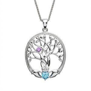 one stone family tree of life pendant