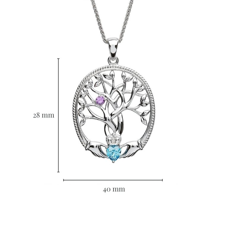 one stone family tree of life pendant with measurement