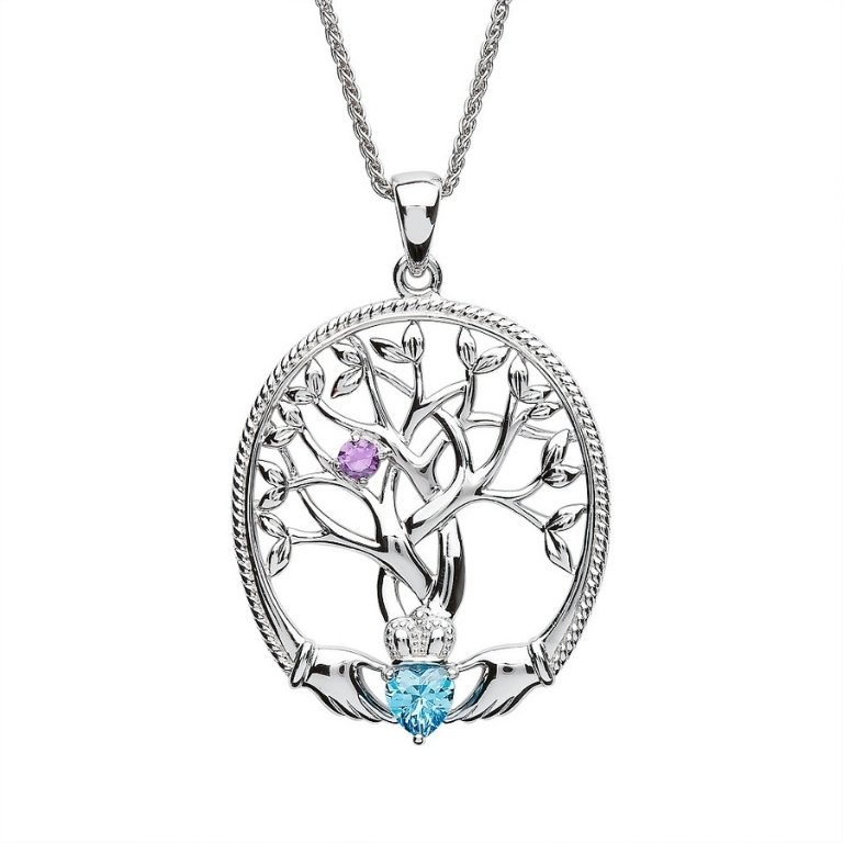 one stone family tree of life pendant