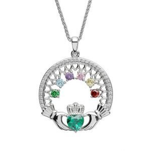 six stone family claddagh pendant
