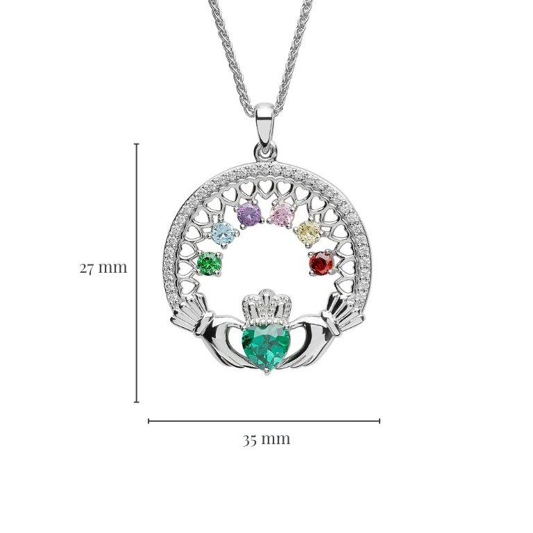 six stone family claddagh pendant with measurement
