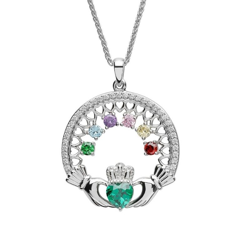 six stone family claddagh pendant
