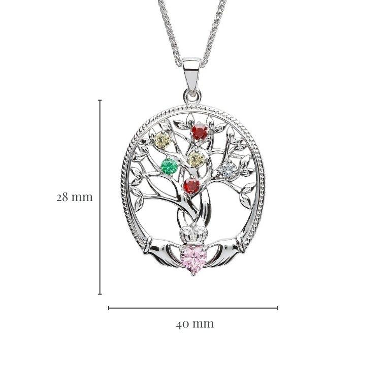 six stone family tree of life pendant with measurement