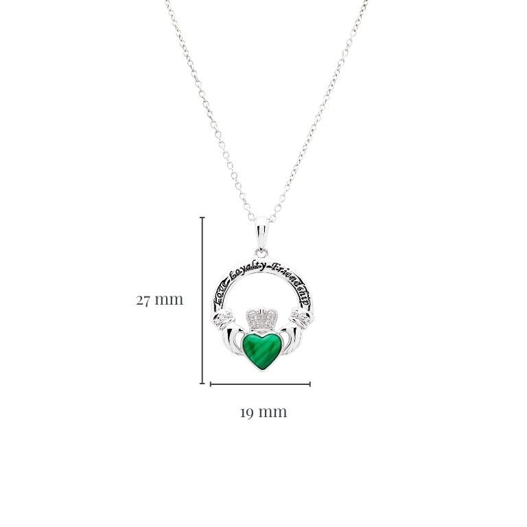 Sterling Silver Claddagh Malachite Pendant with Measurement