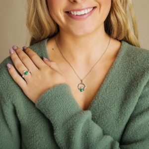 Sterling Silver Malachite Claddagh Ring on Model