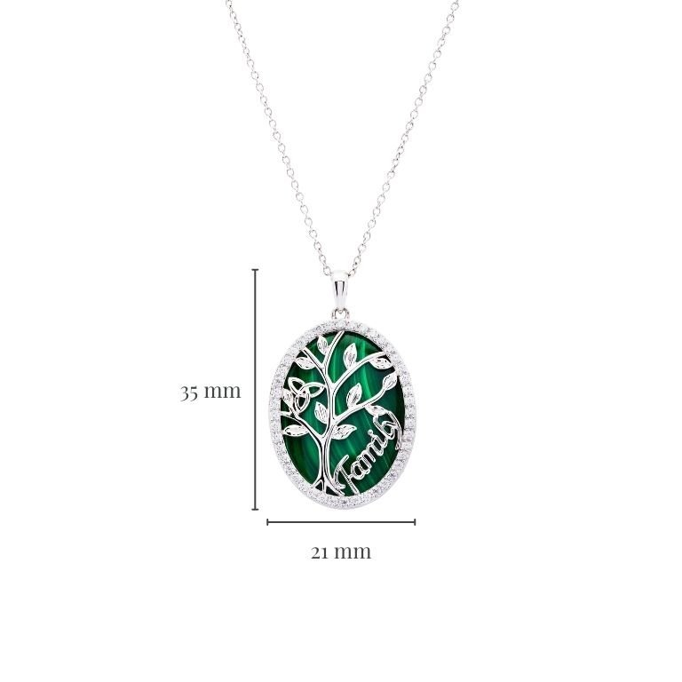 Sterling Silver Oval Malachite Tree of Life Pendant with Measurement
