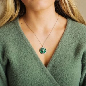 Sterling Silver Tree of Life Malachite Pendant on Model