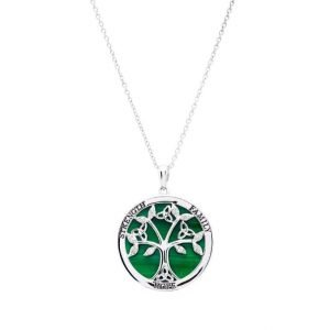 Sterling Silver Tree of Life Malachite Pendant