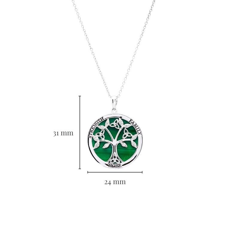 Sterling Silver Tree of Life Malachite Pendant with Measurement