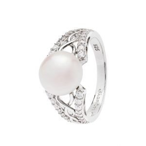 Sterling SIlver Trinity Knot Pearl Ring