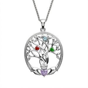 three stone family tree of life pendant
