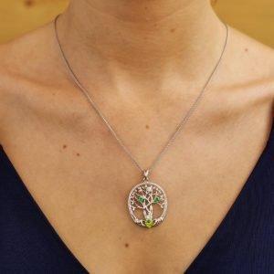 three stone family tree of life pendant on model