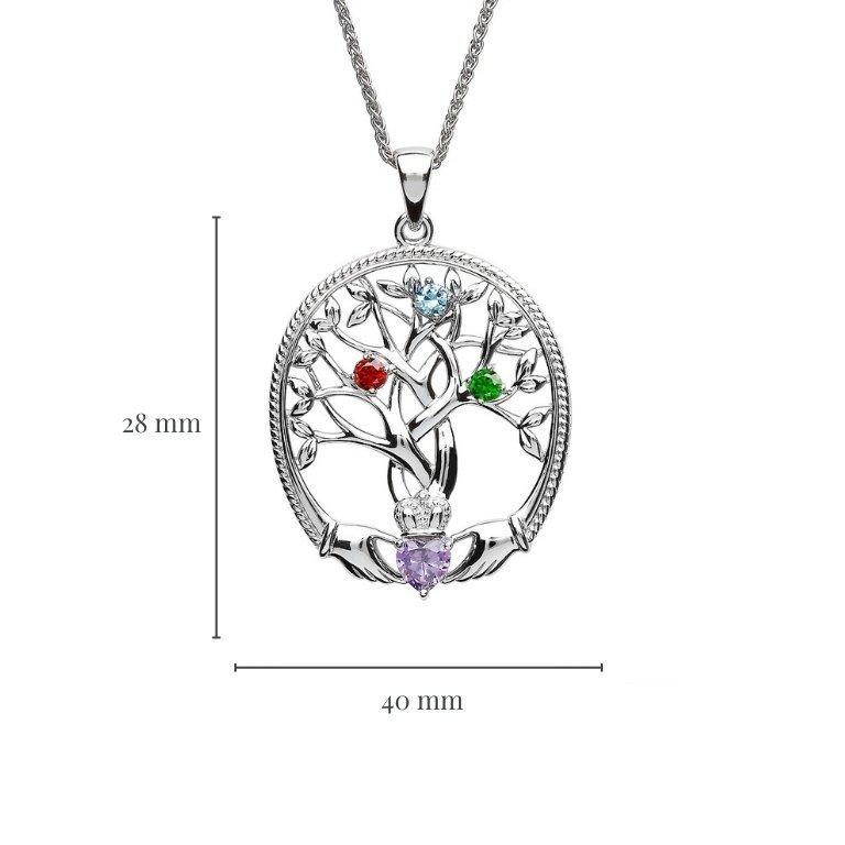 three stone family tree of life pendant with measurement