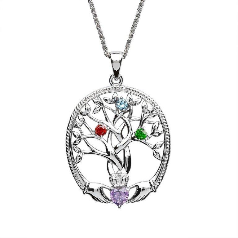 three stone family tree of life pendant