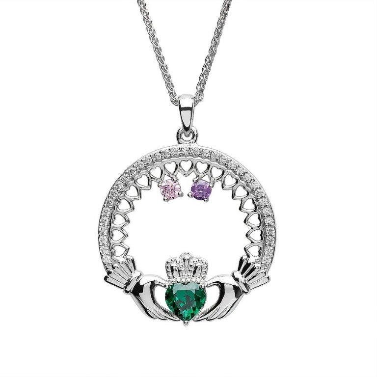 two stone family claddagh pendant