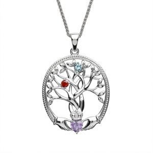 two stone family tree of life pendant