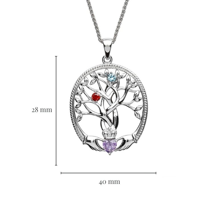 two stone family tree of life pendant with measurement