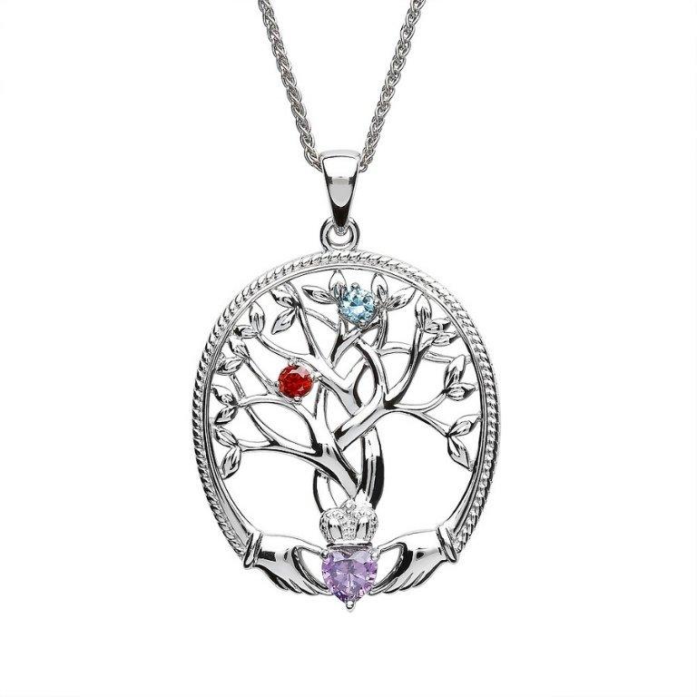 two stone family tree of life pendant
