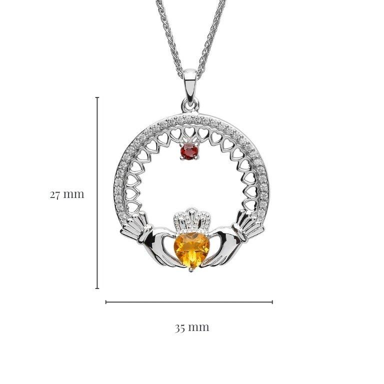 Measurement of Single Stone Family Claddagh Pendant