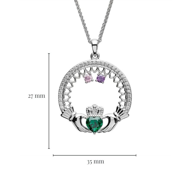 Measurement of Two Stone Family Claddagh Pendant