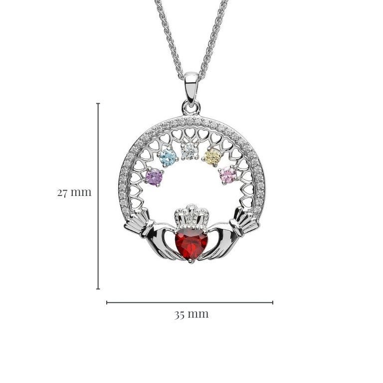 Measurement of Five Stone Family Claddagh Pendant
