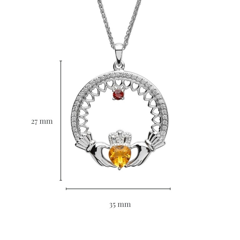 single stone family claddagh pendant with measurement