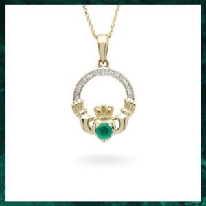 14K Yellow Gold Claddagh Pendant Set with Emerald and Diamond