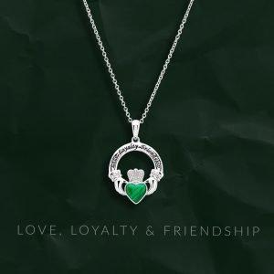 Malachite Claddagh Necklace