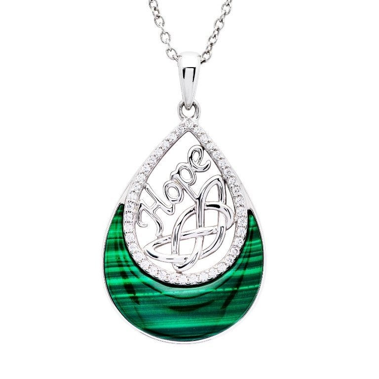 Hope Malachite Trinity Knot Pendant in Sterling Silver