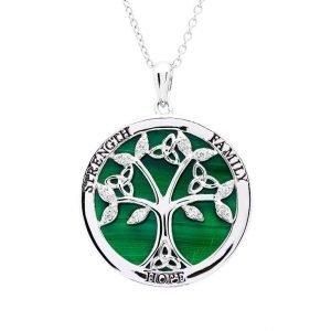 Sterling Silver Tree of Life Malachite Pendant