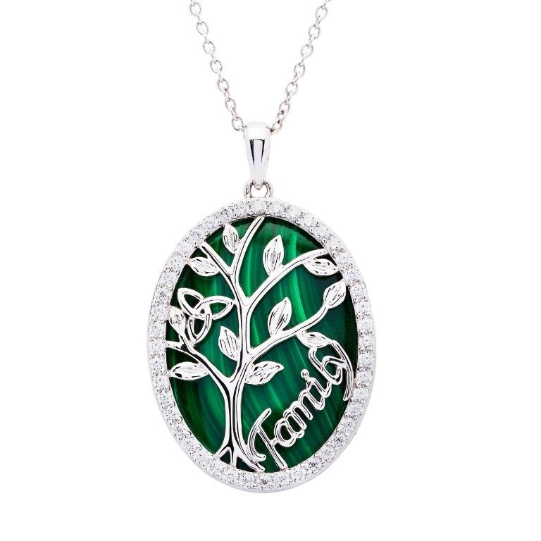 Sterling Silver Oval Malachite Tree Of Life Pendant