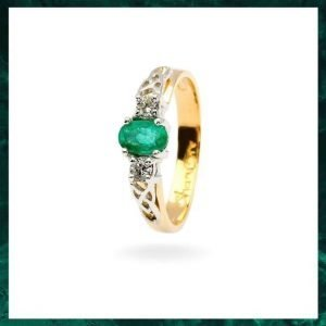 Oval Emerald and Diamond Celtic Trinity Engagement Ring