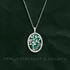 Malachite Tree of Life Family Pendant