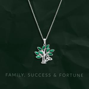 Malachite Tree of Life Trinity Knot Pendant