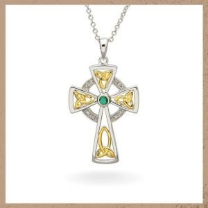 Celtic Trinity Diamond & Emerald Cross
